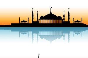 Mosque architecture silhouettes