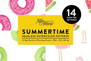 14 Summertime Watercolor Patterns