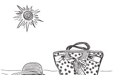female bag with beach hat, sketch