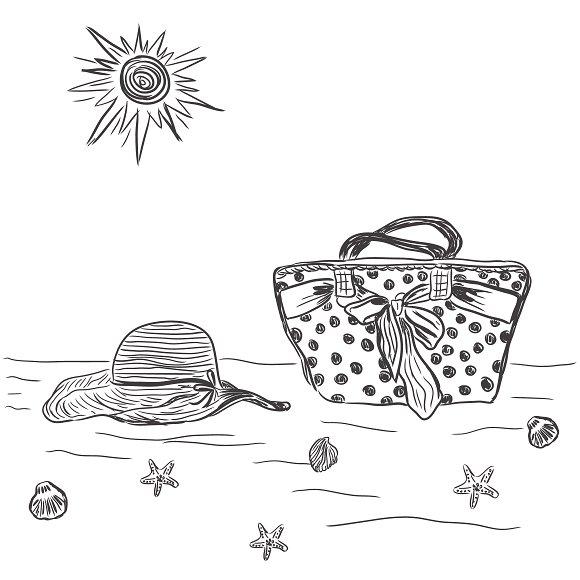 female bag with beach hat, sketch