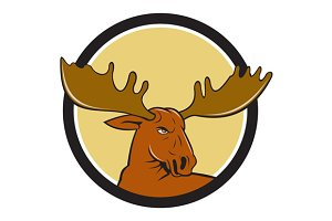 Moose Head Circle Cartoon