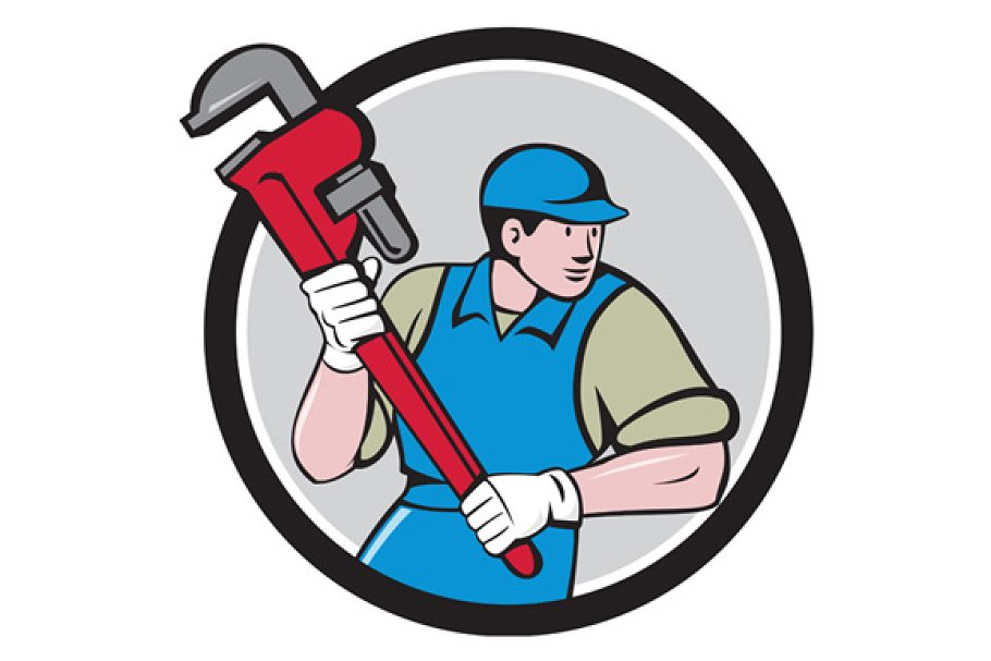 Plumber Running Monkey Wrench  in Illustrations