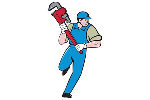 Plumber Running Monkey Wrench