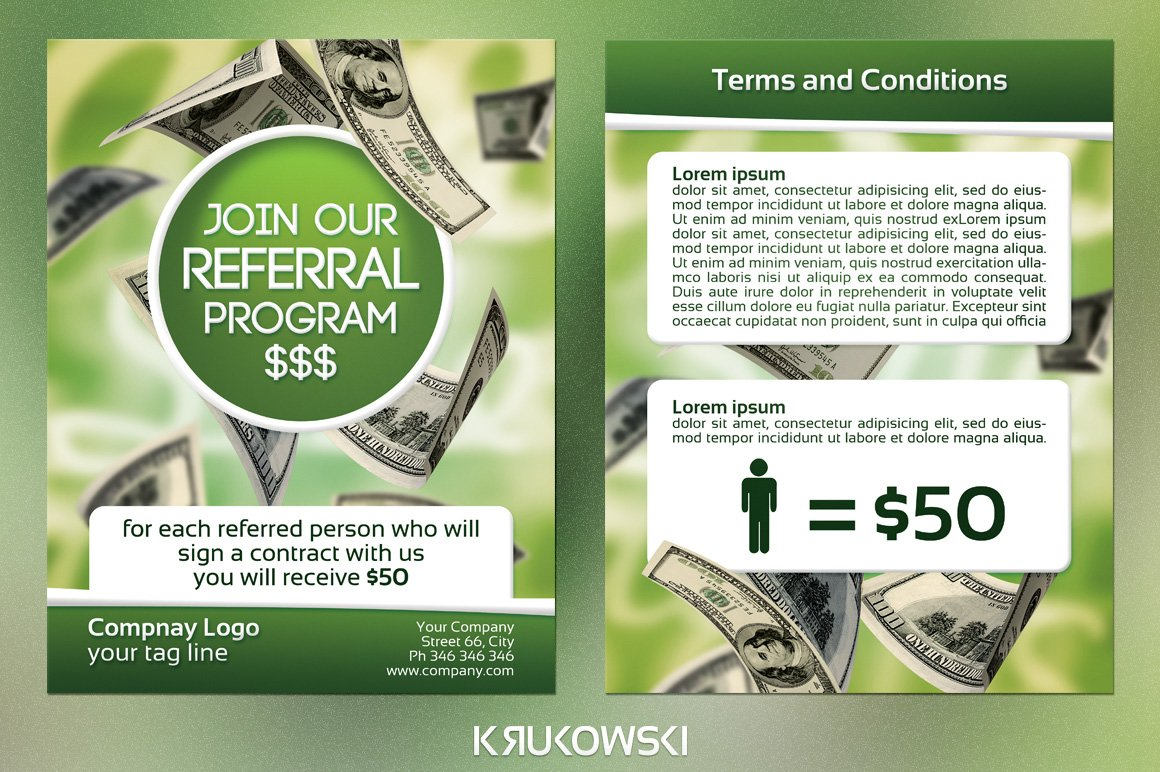 referral program 2 sided flyer flyer templates creative market
