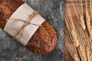 Multi-Grain Bread and Wheat Stalks