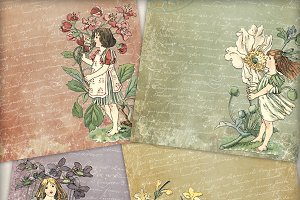 Vintage Garden Girls Printable Paper