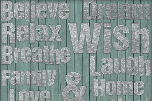 Rustic Galvanized Metal Word Art Set