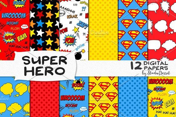 Super Hero Digital Papers Graphic Patterns Creative Market Fascinating Hero Patterns