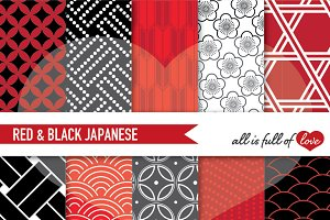 Japanese Patterns Red & Black Papers