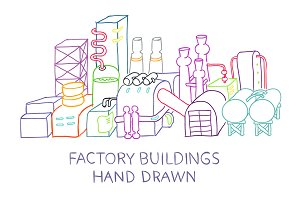 Hand draw of factory buildings