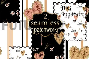 2  Patchwork black and white brown