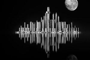 recreation of night skyline