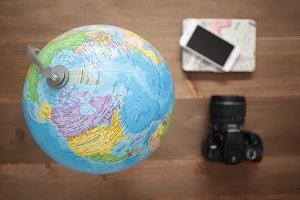 Globe, camera and mobile