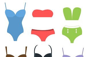 Swim suits cloth fashion look vector