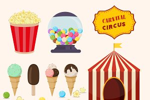 Set of fun fair circus vector