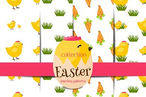 Easter seamless pattern vector set 2