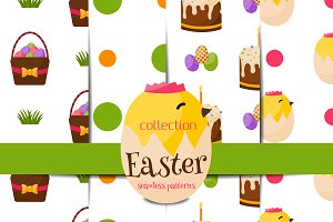 Easter seamless pattern vector set 1