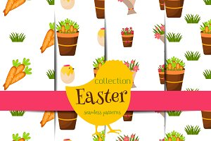 Easter seamless pattern vector set 3