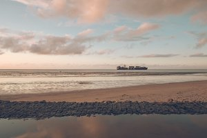 Cargo Ship on the North Sea Coast