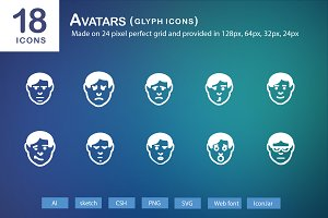 18 Avatars Glyph Icons