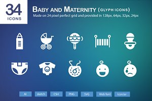 34 Baby and Maternity Glyph Icons