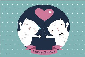 Vector Birthday Cats Card