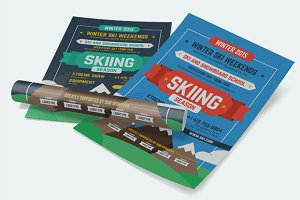 Skiing Season Poster Template