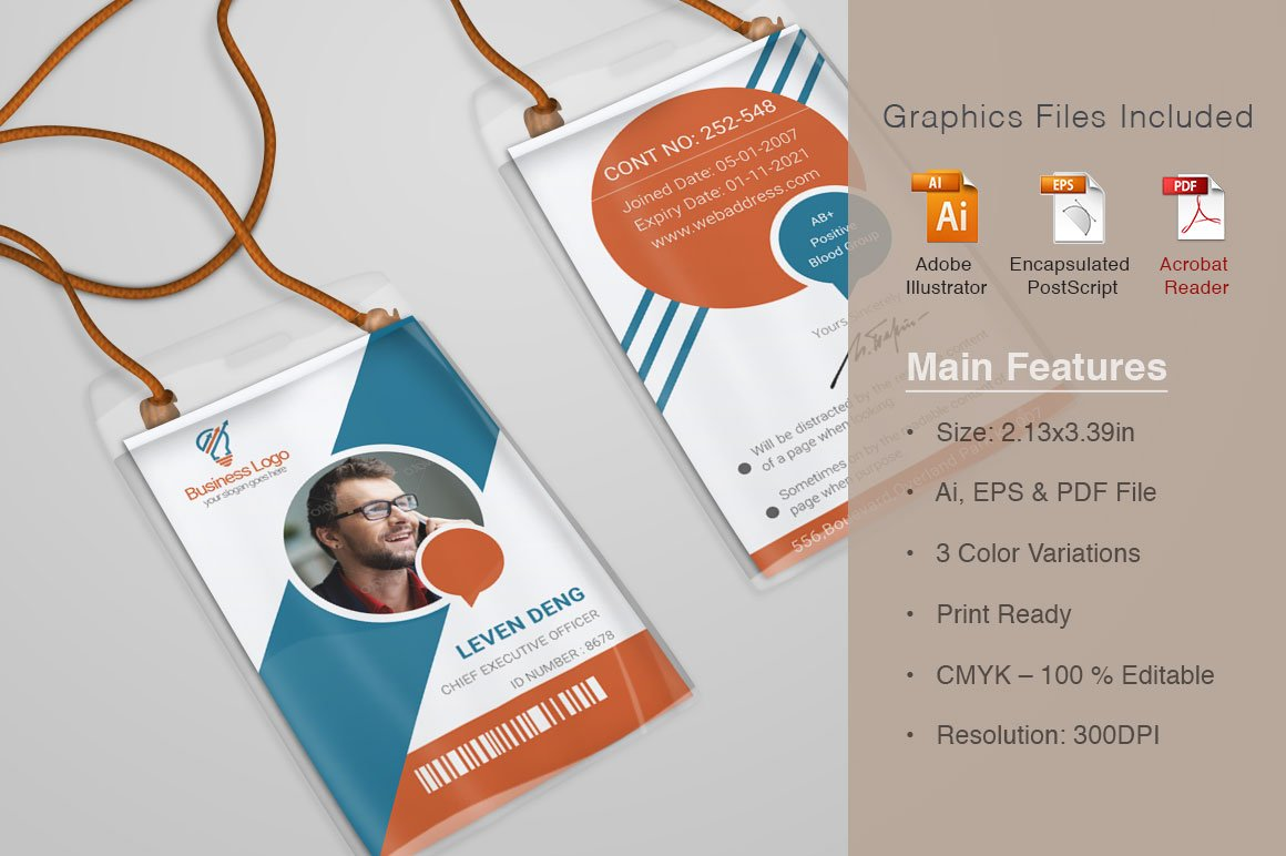 Office Id Card Template Photos Graphics Fonts Themes Templates - Office card template