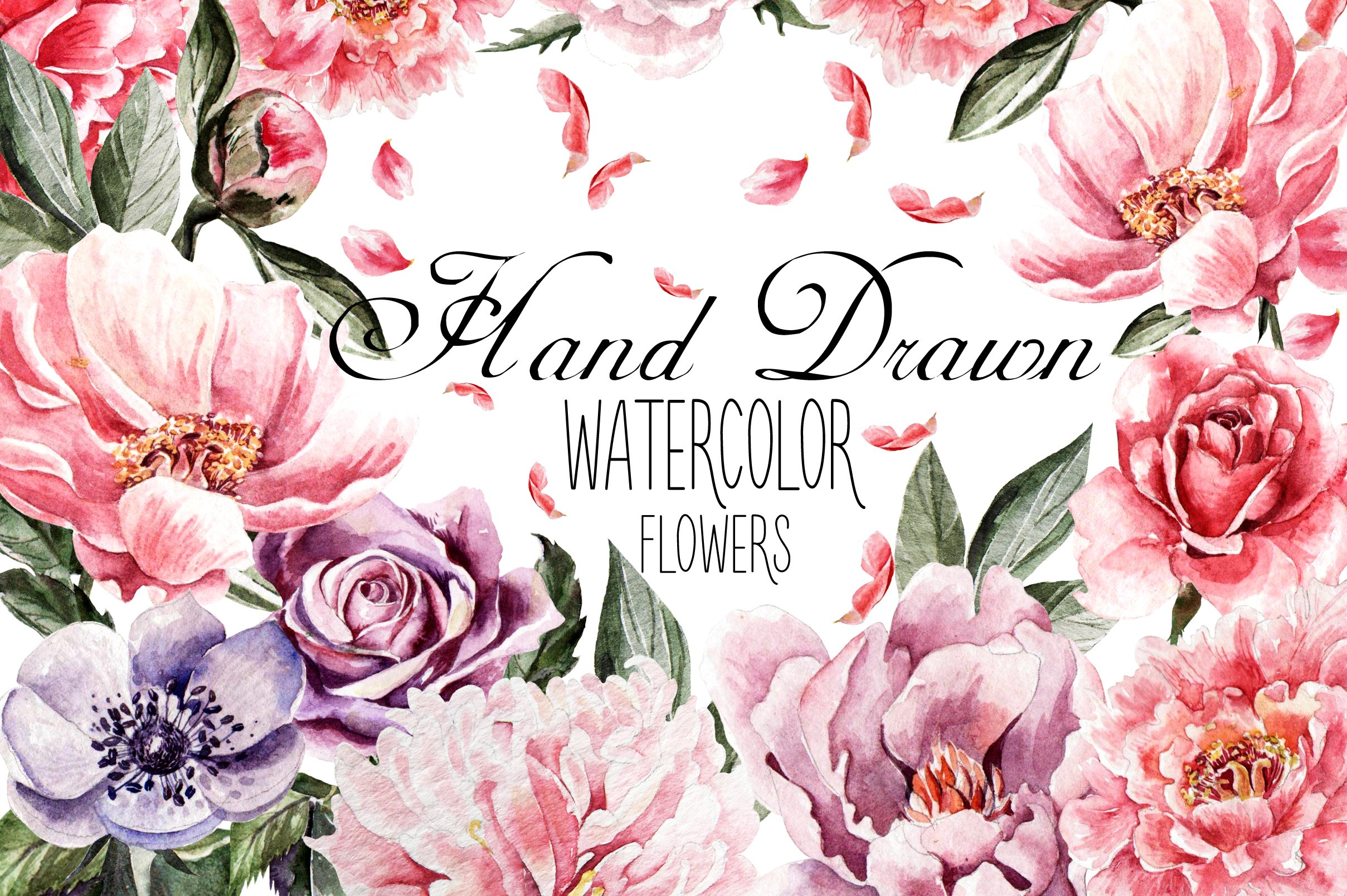 Beautiful watercolor flowers graphic objects creative market izmirmasajfo