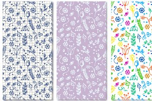 Seamless Hand Drawn Floral Patterns