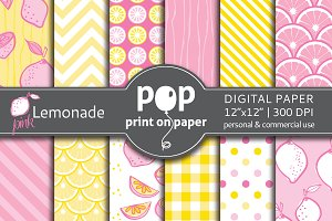 Pink Lemonade digital paper - JPG