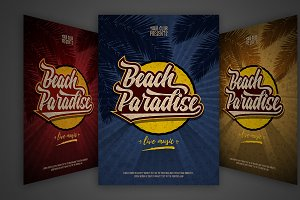 Beach Party Flyer set