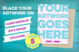 Card Mockup on 5 Wood Colours