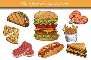 Fast food hand-drawn elements