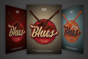 Blues event flyers set