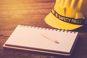 Safety helmet and blank note book