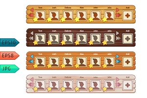 Set of wooden game panels elements.