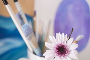 Paint Brushes and Pink Flower