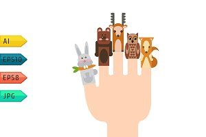 Vector hand and animals.