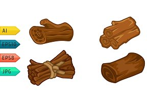 Wooden resources for games icons set