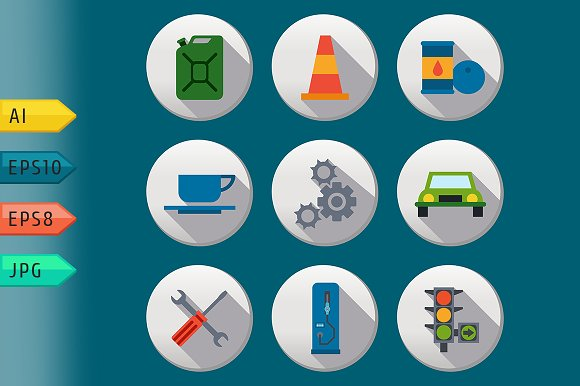 Fuel pump, gas station icons.