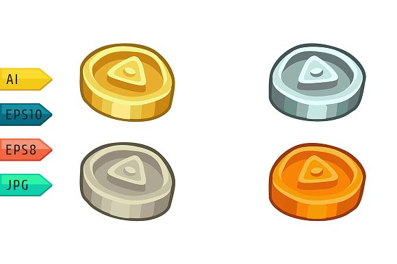 Cartoon game coins set.
