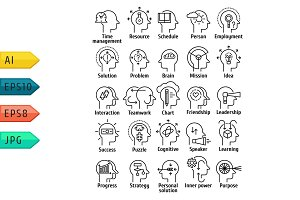 Pictogram icons set of human brain.