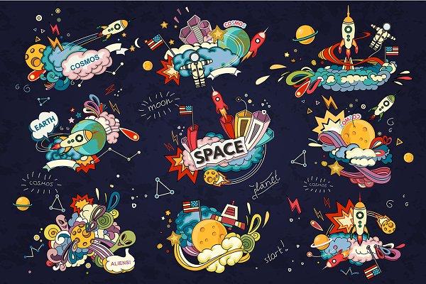 Space cartoon set