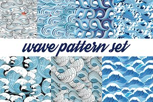 Beautiful pattern set of sea waves