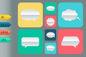 Set of paper bubbles icons.