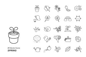 Spring outlines vector icons