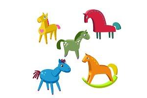 Wooden toy  horses vector set