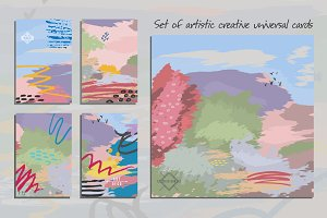 Set of artistic universal cards