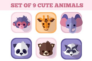 The set of nine cute baby animals